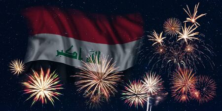 Holiday sky with fireworks and flag of Iraq, independence day of country Фото со стока