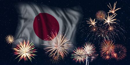 Holiday sky with fireworks and flag of Japan, independence day of country Фото со стока