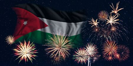 Holiday sky with fireworks and flag of Jordan, independence day of country Фото со стока