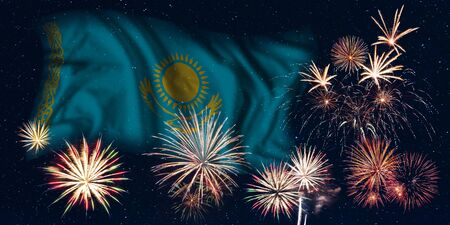 Holiday sky with fireworks and flag of Kazakhstan, independence day of country