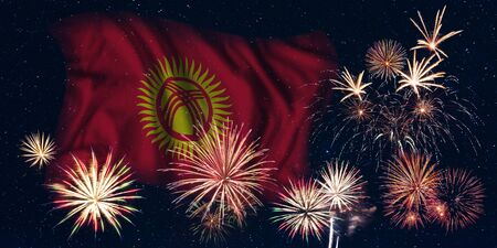 Holiday sky with fireworks and flag of Kyrgyzstan, independence day of country