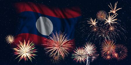 Holiday sky with fireworks and flag of Laos, independence day of country Фото со стока