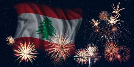 Holiday sky with fireworks and flag of Lebanon, independence day of country