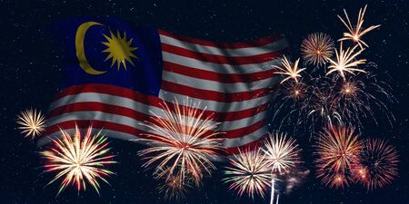 Holiday sky with fireworks and flag of Malaysia, independence day of country