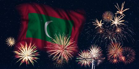 Holiday sky with fireworks and flag of Maldives, independence day of country