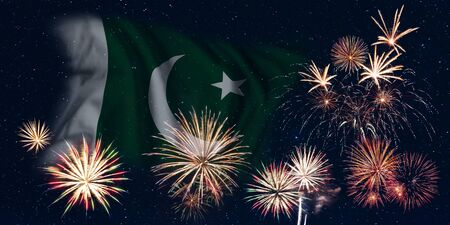 Holiday sky with fireworks and flag of Pakistan, independence day of country