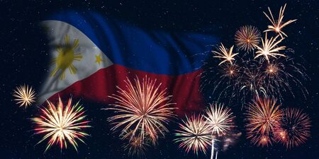 Holiday sky with fireworks and flag of Philippines, independence day of country