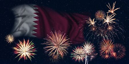Holiday sky with fireworks and flag of Qatar, independence day of country Фото со стока