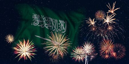 Holiday sky with fireworks and flag of Saudi Arabia, independence day of country