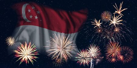 Holiday sky with fireworks and flag of Singapore, independence day of country