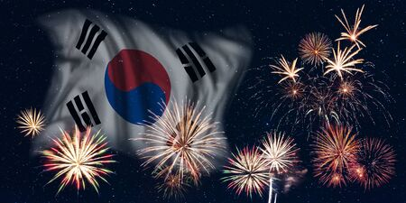 Holiday sky with fireworks and flag of South Korea, independence day of country