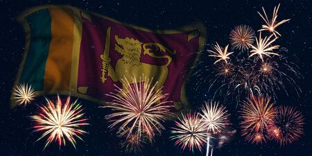 Holiday sky with fireworks and flag of Sri  Lanka, independence day of country Фото со стока