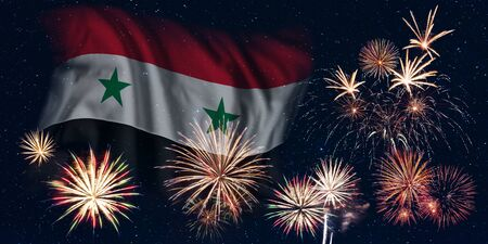 Holiday sky with fireworks and flag of Syria, independence day of country
