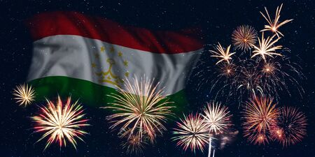 Holiday sky with fireworks and flag of Tajikistan, independence day of country Фото со стока