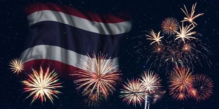 Holiday sky with fireworks and flag of Thailand, independence day of country