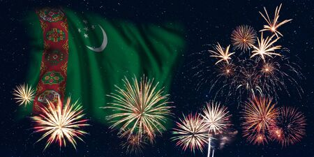 Holiday sky with fireworks and flag of Turkmenistan, independence day of country