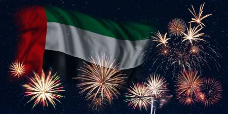 Holiday sky with fireworks and flag of United Arab Emirates, independence day of country
