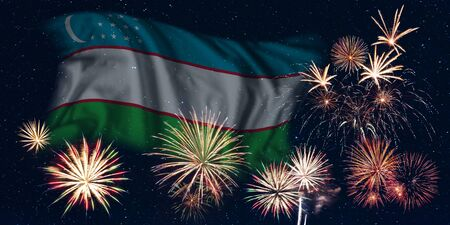 Holiday sky with fireworks and flag of Uzbekistan, independence day of country