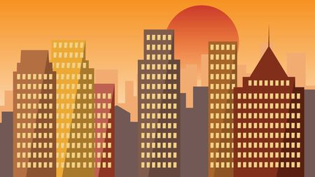 Cityscape with skyline on sunset, buildings in modern city. Vector illustration