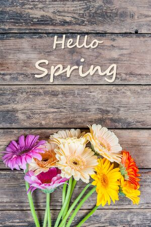 Nature rustic background with gerbera flowers and hello spring lettering, selective focus