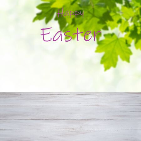 Easter painted eggs on and flowers, holiday background for your decoration. Egg hunt, copy space, Happy Easter lettering Фото со стока