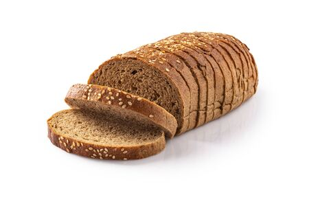 Rye sliced bread isolated on white background