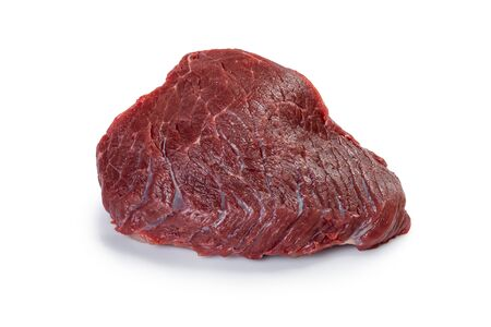 A large piece of fresh beef isolated on white background. Raw meat for cooking