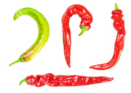 Red chili and cayenne pepper isolated on white background. Raw food vegetable