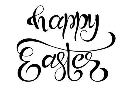 Happy easter lettering hand sketched words. Seasonal logo, greeting card. Latter for holiday decorating. Vector