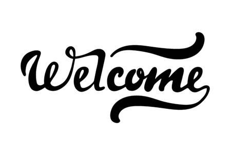 Welcome lettering hand sketched sign. Seasonal logo, greeting card. Latter for your decorating. Vector