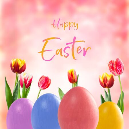 Easter eggs and tulip flowers, holiday background for your decoration. Egg hunt, Happy Easter  lettering