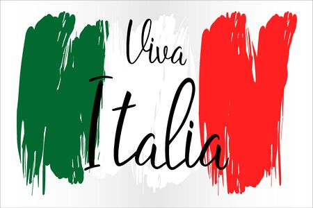 Viva Italia hand lettering text with national flag for Italy republic day. Greeting card., banner or wallpaper.