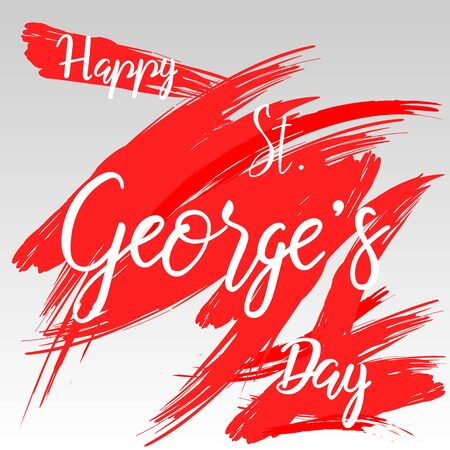 Happy St George's day hand lettering sketched sign. Holiday greeting card, banner or poster.