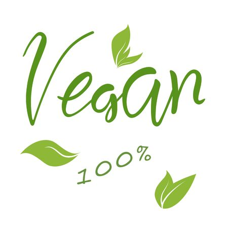Vegan natural hand lettering text and green leaves, vector eps10