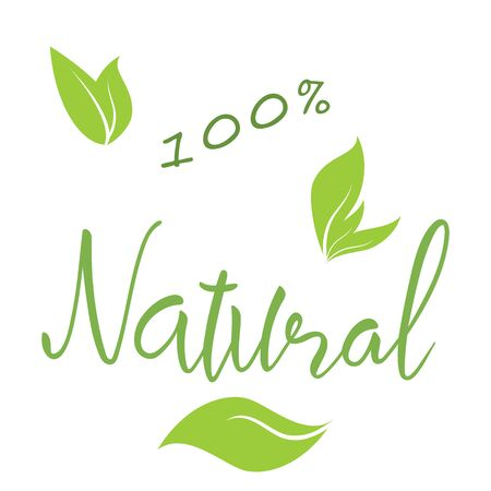 Natural natural hand lettering text and green leaves, vector eps10