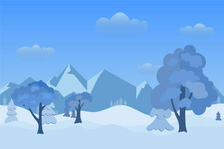 Winter day on forest and mountains in snowfall on landscape with white snow on fir trees. Vector illustration EPS 10