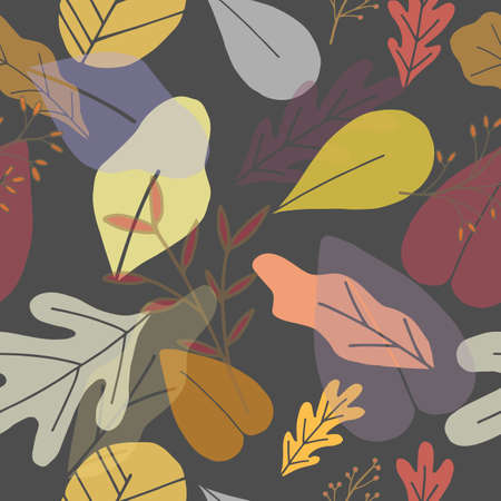 Seamless nature autumn season pattern with hand drawing different fall leaves for greetin card decoration. Vector EPS 10