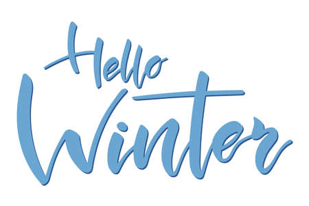 Hello winter brush hand lettering text isolated for greeting card or banner. Modern calligraphy slogan, vector Иллюстрация