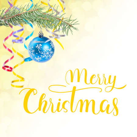 Merry Christmas holiday background with hand lettering text