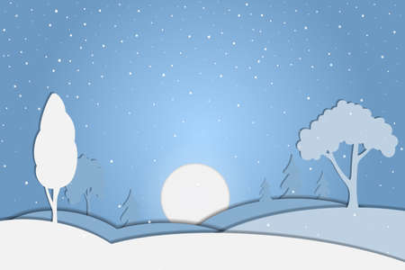 Christmas winter landscape with trees and snowfall in paper cut style. Vector Иллюстрация