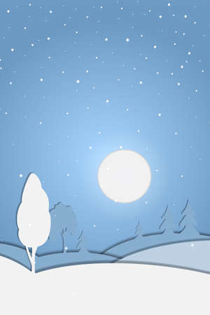 Christmas winter landscape with trees and snowfall in paper cut style. Vector 10 EPS Иллюстрация