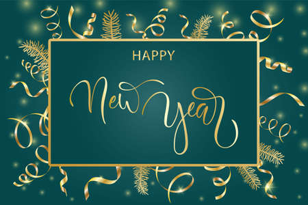 Greeting card with Happy New Year hand lettering calligraphy text. Holiday banner Vector 10 EPS