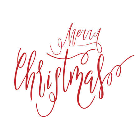 Merry Christmas hand lettering calligraphy text isolated for greetengs card. Holiday banner Vector 10 EPS