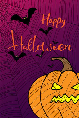 Holiday greeting card with Happy Halloween hand lettering text, banner or wallpaper. Vector 10 EPS