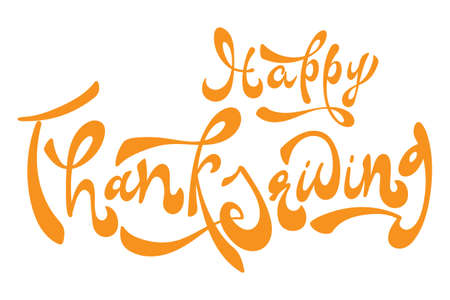 Happy Thanksgiving brush hand lettering text isolated for greeting card or banner on fall leaves. Modern calligraphy slogan, vector EPS 10