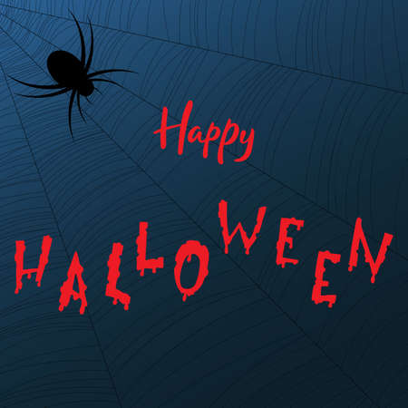 Happy Halloween hand lettering text for holiday greeting card., Banner or wallpaper. Vector 10 EPS