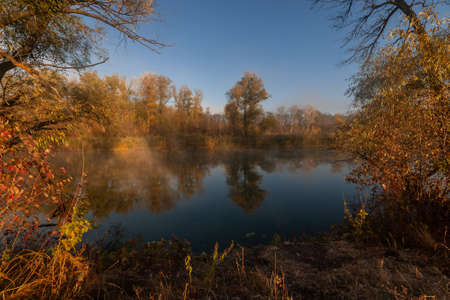 Beatiful autumn landscape with trees reflection in water, foggy morning Фото со стока