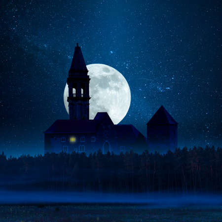 Mystic dark castle in forest, halloween background. Night landscape with stars and moon Фото со стока