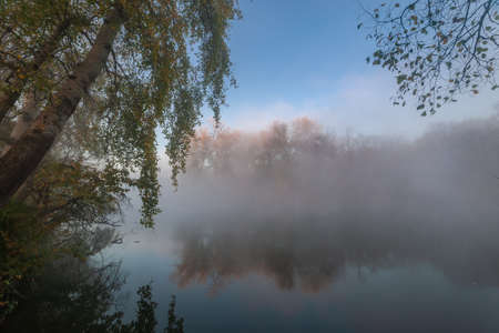 Beatiful autumn landscape with fog over river and trees reflection in water