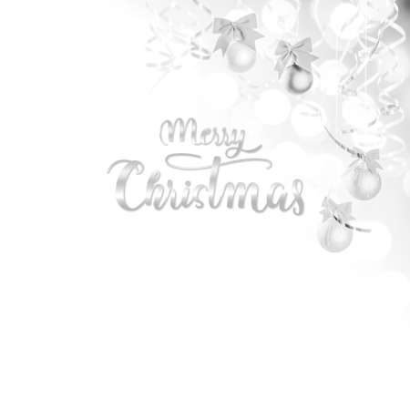 Christmas background with balls and serpentine with hand lettering text